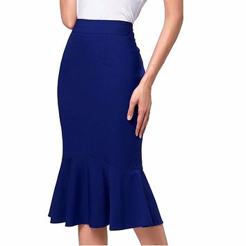Wine Black High Waist Skirts Womens Slim Pencil Mermaid Skirt Cheap Women Business Office Party Midi Skirt Big Size Saia Faldas