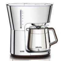 KRUPS KT600 Silver Art Collection 10 European Cup Thermal Carafe Coffee Maker, Stainless Steel/Chrom