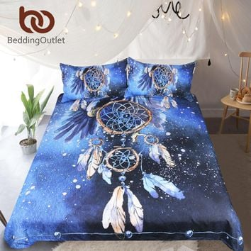 BeddingOutlet Dreamcatcher Bedding Set Queen Size Feather Blue Printed Duvet Cover Boho Bedclothes 3pcs Bald Eagle Home Textiles
