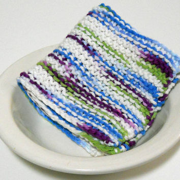 Large Washcloth, Hand Knit in sahdes of White, Green, Blue and Purple, 100% cotton, mix and match to make a custom set, Housewarming Gift