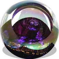 Venus Taurus Celestial Planet Hand Blown Glass Paperweight 3H