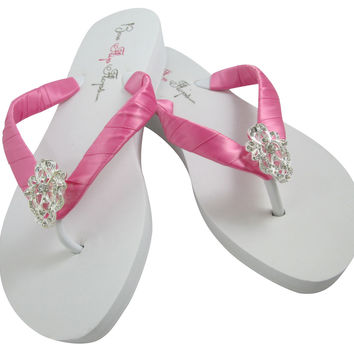 Hot Pink Vintage Lace Bling Flip Flops