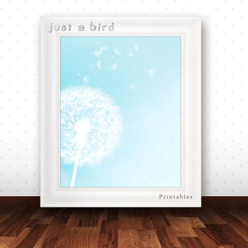 Dandelion art print, nursery art printable, aqua blue nursery decor, aqua wall art, flower art - INSTANT DOWNLOAD