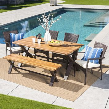 Brassel Outdoor 6 Piece Acacia Wood Dining Set with Wicker Dining Chairs