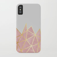 Pink & Gold Geometric iPhone Case by Tanyadraws