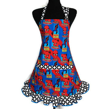 The Amazing Spiderman Apron for women , Comic Book Kitchen Decor , Adjustable with Pocket
