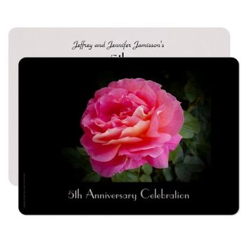 5th Anniversary Celebration Invitation Pink Rose