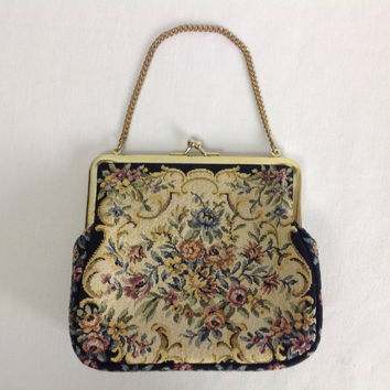 Vintage Petit Point Tapestry Handbag Evening Purse Chain Handle