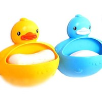 Rubber Ducky Shaped Soap Dish Bathroom Organizer Trinket Holder in Yellow or Blue