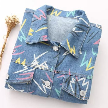 Denim Printed Long-Sleeve Collar Button Shirt With Pocket