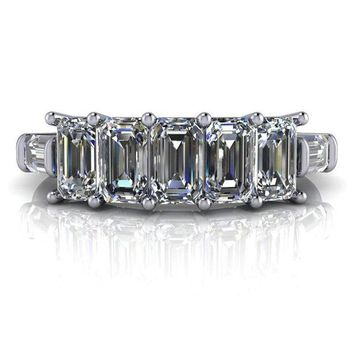1.92 CTW 7-Stone Emerald Cut Moissanite Baguette Anniversary Ring or Wedding Band - Anniversary Ring