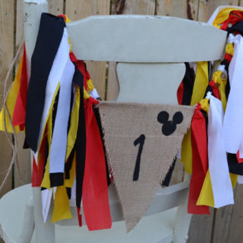 Mickey Mouse High Chair Banner - Mickey Mouse Party Decorations - Mickey Mouse banner - Mickey Mouse 1st birthday party