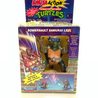 Somersault Samurai Leo // TMNT Ninja Action Teenage Mutant Ninja Turtles Somersault Samurai Leo Action Figure 1993 Sealed in Box