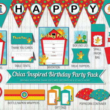 The Chica Show Inspired Birthday, First Birthday, Printable Party Pack, Birthday Party Decor, DIY Party, Farm Themed Party, DIY Birthday