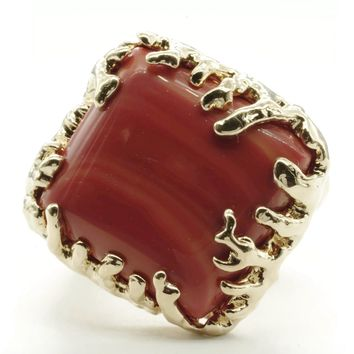 Coral Wrapped Offset Square Simulated Coral Stone Adjustable Fashion Ring in Gold Tone