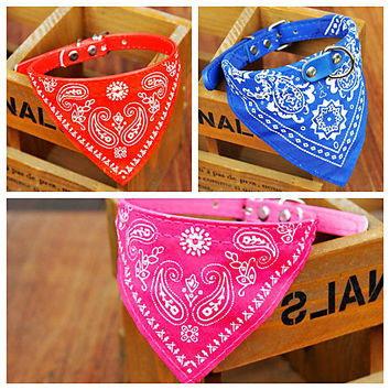 4 Colors 4 sizes Adjustable Pet Cat Dog Collar Lead Dogs Decoration Accessories Puppy Bandana Scarf  Neckerchief Pets Supplies