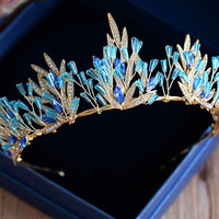 fashion baroque blue crystal gold tiara headband wedding hair accessories bridal jewelry rhinestone leaves crown diadem T750