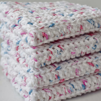Crochet Dishcloths - Handmade Washcloths - (Set of 4) 100% Cotton Dish Rags - White with Red and Blue Dots Wash Cloths