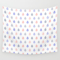 Rose quartz, serenity blue and lilac grey raindrops Wall Tapestry by Savousepate