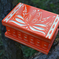 Orange DeluxeEdition jewelry box secret box puzzle box brain teaser wooden treasure chest trinket box home decor wood box jewelry storage