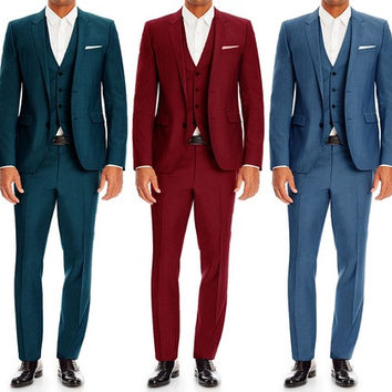 Bernardi Men's 3-Piece Wool-Blend Slim-Fit Sharkskin Suits