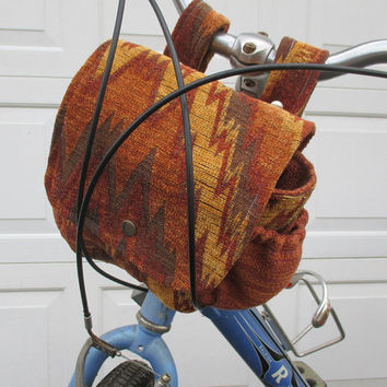 Orange Bike Bag , Bicycle Bag Converts To A Purse ,  Handlebar Bike Bag , Unisex Bike Bag