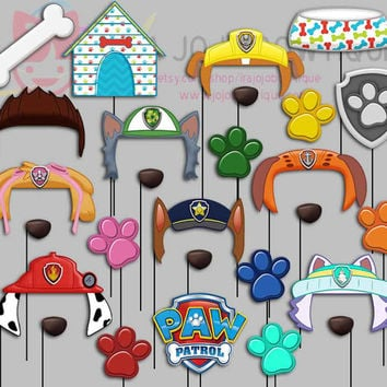Dogs Party Photo Booth Props, Paw Patrol Party Photo Props