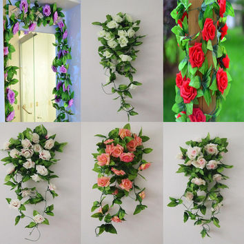 Fashion Artificial Rose Flower Ivy Vine Leaves Hanging Festival Home Decor Wedding Rattan Fake Plant