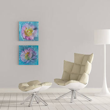Blue Floral Photo Abstract Square Fine Art Print on Metallic Paper Mounted on Plexiglas. Blue Botanical Home Decor, Flowers Photography