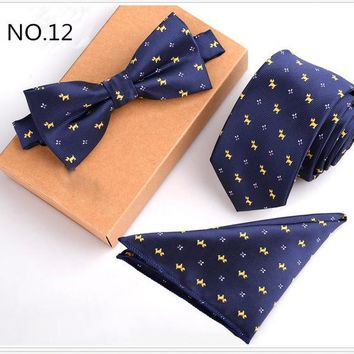 3 Piece Slim Men Tie, Bow Tie and Handkerchief Set - Doggy Pattern