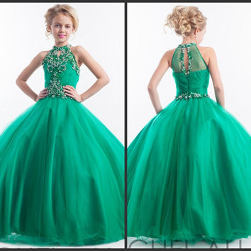 New Arrival Halter Embellished Crystal Beads Girls Ball Gown Pageant Dresses Long Tulle Green Pageant Dresses for Juniors 2016