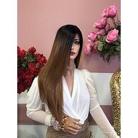 "Brown Ombre Lace Front Wig 18"" 0219 12"