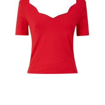 Red Scallop Neck T-Shirt | New Look