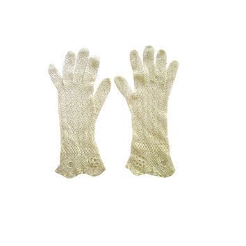 Crochet Open Weave Cream Gloves