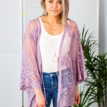 Take My Breath Away Kimono-Lavender