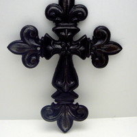 Fleur de lis Cross Wall Decor Glam Black Distressed Shabby Chic French Paris Ornate Decoration Cast Iron