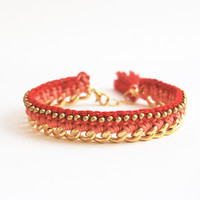 Red bracelet with chunky chain, crochet bracelet with beads, tassel bracelet, boho bracelet, red and gold
