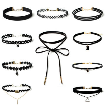 Black Lace Rope andn Velvet Chokers 10 Pieces Women Black Rope Choker Necklace Set Choker Chain