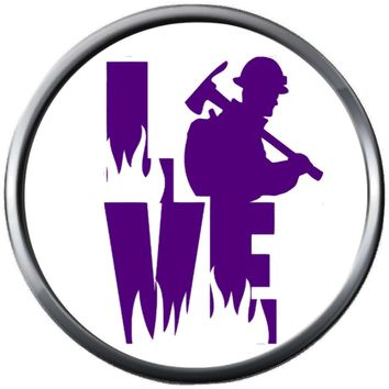 Love Firefighter Fire Man With Axe In Purple Flames Courage Under Fire Thin Red Line 18MM-20MM Snap Charm Jewelry New Item