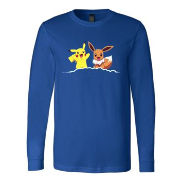 Canvas Long Sleeve Shirt Pikachu & Eevee pokemon