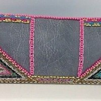 One Of A Kind Ladies Handbeaded Luxury Clutch Bag, Grey Leatherette