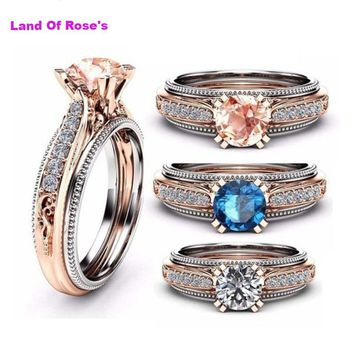 3 colors Antique ring Rose White Gold Filled 5A Zircon 1.5 Cz Party wedding band rings