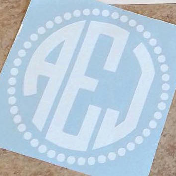 Custom/Personalized Circle Vinyl Monogram Car Decal With Small Circle Boarder