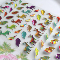 deer sticker owl sticker colorful animal hologram animal epoxy sticker colorful forest glitter label lovely fairy tale animal world