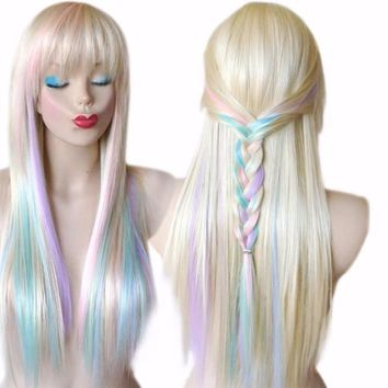 Unicorn Hair Color Wig with Subtle Pastel Pink, Purple and Blue Colors Long Hair with Low Bangs