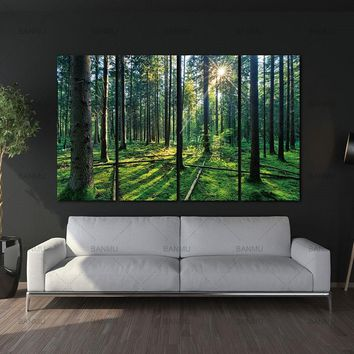 4 Panel Forest and Sunrise SunliXWAt Oil Painting Green Tree Woods Canvas Print Modern Wall Art Home Decoration Home Decor