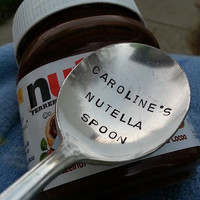 NUTELLA spoon, personalized with your choice of name, hand stamped spoon, recycled teaspoon,,birthday gift, stocking stuffer