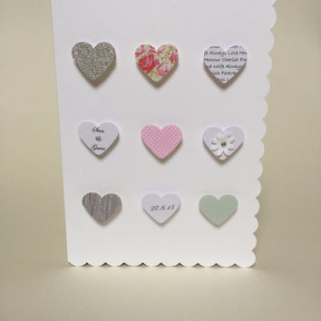 Beautiful luxury handmade heart wedding card 3D personalised and handmade by janice at Swanky Crafts