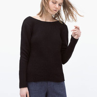 Deep V-Cut Back Long Sleeve Knitted Top