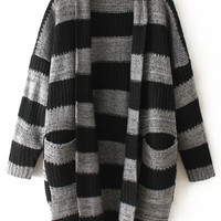 Grey Striped Pockets Long Sleeve Coat